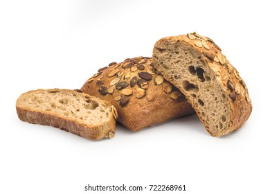 Rustic, organic, healthy bread isolated on white background. Clipping path included.