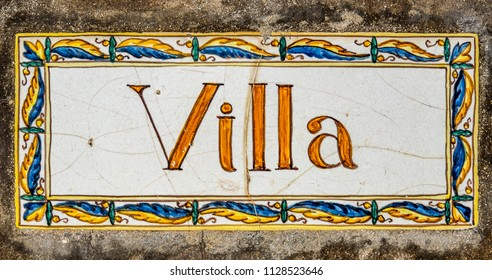 Rustic Ornate Painted Sign For A Spanish Or Italian Villa