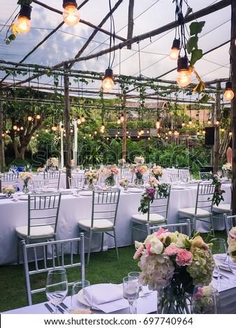 Rustic Outdoor Wedding Reception Table Arrangement Stock Photo Edit