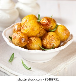 Rustic oven baked potatoes with rosemary