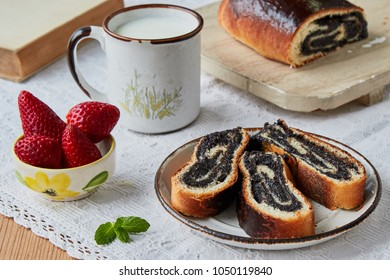 rustic poppy seeds strudel slices on plate