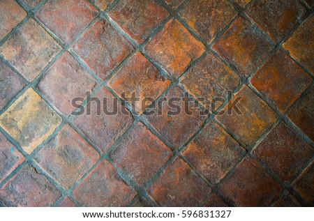 Rustic Red Clay Floor Tiles Stock Photo Edit Now 596831327