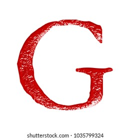 Rustic red metallic uppercase or capital letter G in a 3D illustration with a rough chiseled metal texture and jagged edge font style isolated on a white background with clipping path.