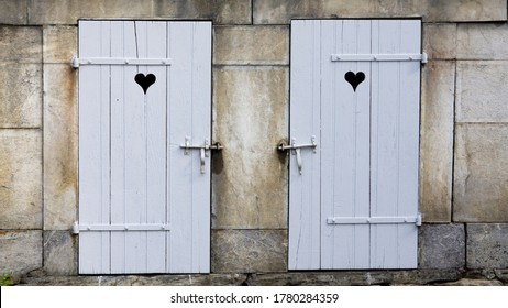 Rustic romantic Twin white doors with Love Hearts