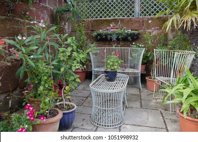 Rustic seating in the English courtyard garden
