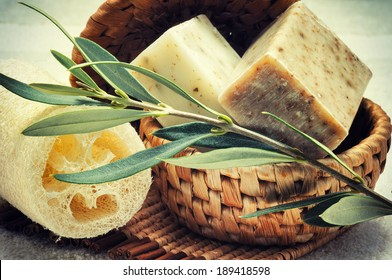 Rustic setting with natural olive soap