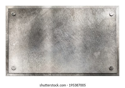 Rustic shiny gray metal sign plate with rivets texture background isolated on white