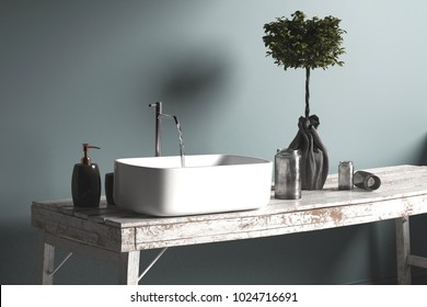 Rustic simple bathroom hand basin or vanity with running water from an old fashioned faucet into a rectangular ceramic sink on an old grunge wooden table. 3d rendering