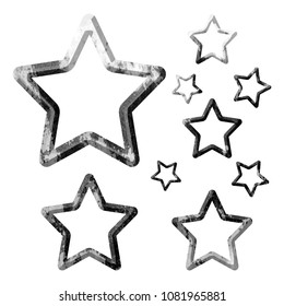 Rustic Stone Set Of Rounded Star Outline Shape Design Elements In A 3D Illustration With An