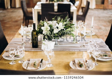 Rustic Style Vintage Wedding Table Decoration Stock Photo Edit Now
