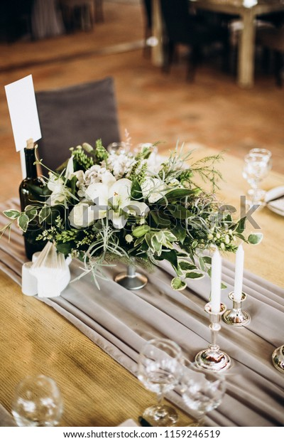 Rustic Style Vintage Wedding Table Decoration Stock Photo