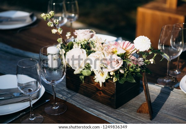 Rustic Style Wedding Table Decoration Stock Photo (Edit Now ...