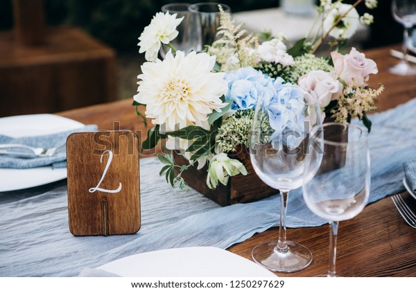 Rustic Style Wedding Table Decoration | Royalty-Free Stock Image