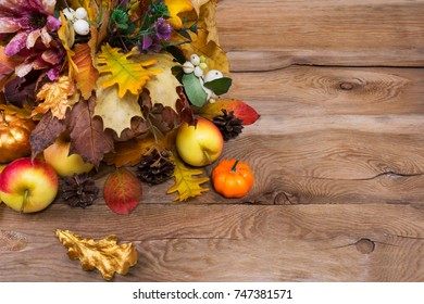 Rustic Thanksgiving Greeting Background With Apples Cones Golden And Yellow Oak Leaves Copy