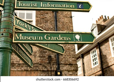Rustic Tourism Sign Post in York, England