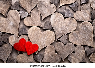 Rustic Valentines Day background with hearts.