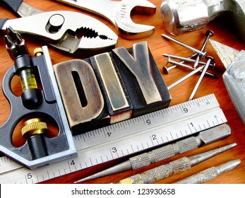 Rustic and vintage do it yourself (DIY) used tool background