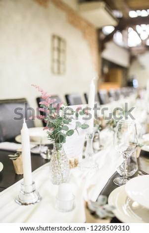 Rustic Vintage Reception Table Decoration Flowers Stock Photo Edit