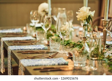 Rustic Vintage Wedding Party Table Settings with flowers decorations