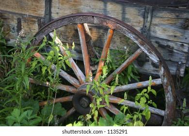Rustic wagon wheel.
