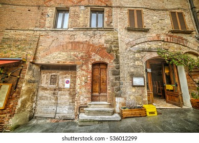 Rustic wall in Montepulciano, Italy