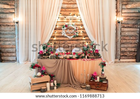 Rustic Wedding Decor On Timber Background Stock Photo Edit Now