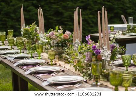 Rustic Wedding Decor Pink Peach Purple Stock Photo Edit Now