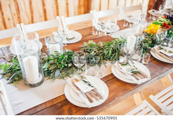 Rustic Wedding Decor Wedding Table Setting Stock Photo (Edit