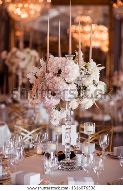 Rustic Wedding Decorations.Rustic Wedding Decorations Flowers Candles Banquet Stock Photo Edit