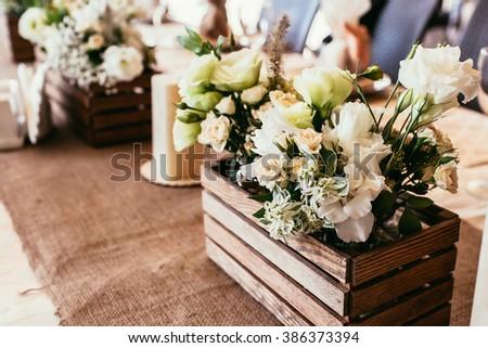 Rustic Wedding Decorations Wooden Box Bouquet Stock Photo Edit Now