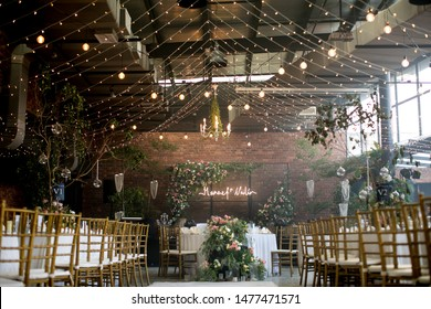 rustic wedding setup in a rustic hall