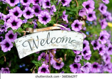rustic welcome sign in purple pansy