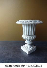 Rustic White Cast Iron Urn Vase