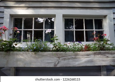 Rustic windowbox with flowers