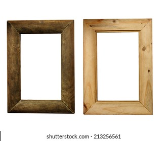 A rustic wood picture frame with curved surfaces, made of aged and weathered wood, actual dimensions 8.5 by 14 inches.  Showing the front and back.  Isolated on a white background.