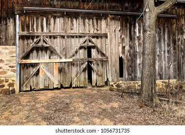 Rustic wooden barn door background