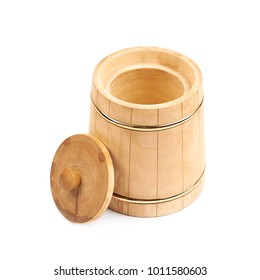 Rustic wooden beer mug isolated over the white background