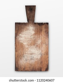 Rustic wooden board with flour isolated on white. Top view on old cutting board with copy space