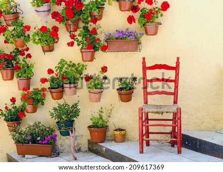 Rustic wooden chair painted in red surrounded of geranium pots. Spain