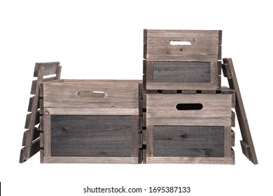 Rustic Wooden Crates Wooden Boxes Wood Stacked With Lids Black Board Sign Label End. Individual Pen Tool Created Clipping Work Paths for Easy Compositing Included in JPEG Isolated on White Background