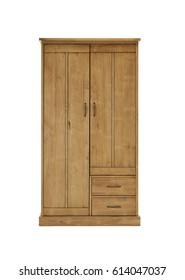 Rustic wooden cupboard isolated on white. Wardrobe