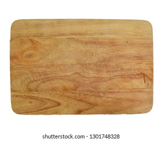 Rustic wooden cutting board isolated on white background
