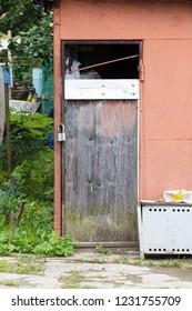 Rustic wooden door on barn