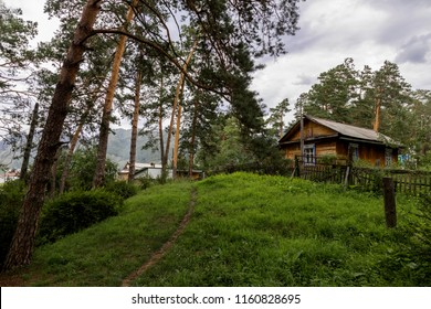 rustic wooden hut on the hill