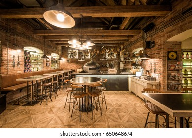 Rustic wooden interior of pizzeria restaurant