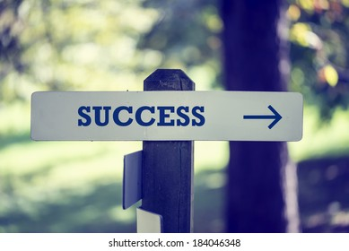 Rustic wooden signboard with the word Success and a right pointing arrow outdoors in green woodland in a conceptual image.