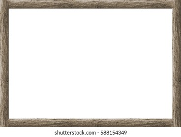 Rustic wooden trunk borders white frame background