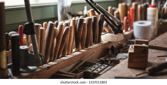 Rustic workbench with a lot of tools