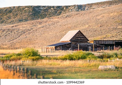 rustic Wyoming  working ranch at the foot of the Mountains