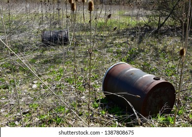 Rusting and decaying 55 gallon steel chemical drums in an wooded area rotting away.